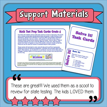 Math Test Prep and Review Task Cards for 4th Grade