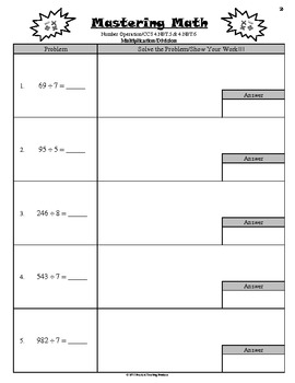 Math Skills - Number Operations with Common Core Standards