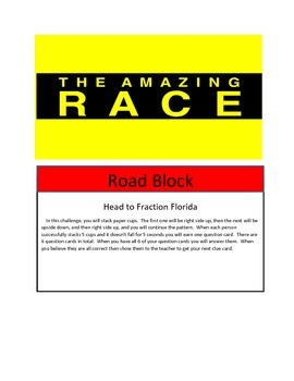 Math Test Review: Amazing Race Theme 5th grade 2nd set of concepts