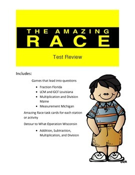 Math Test Review: Amazing Race Theme 5th grade 2nd set of