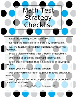 Math Test Strategies Checklist {Great for STAAR Math Prep!}