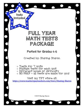 Math Test for the year - 7 math units