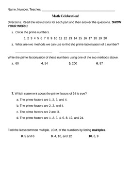 Math Test on Primes, Least Common Multiple, Greatest Common Factor