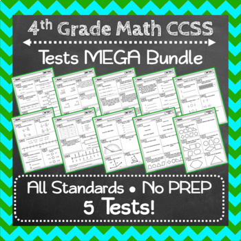 Elementary Math Tests Bundle: ALL Common Core Standards, K-5 Tests