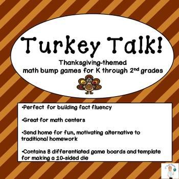 Math Thanksgiving Turkey Talk Bump Games