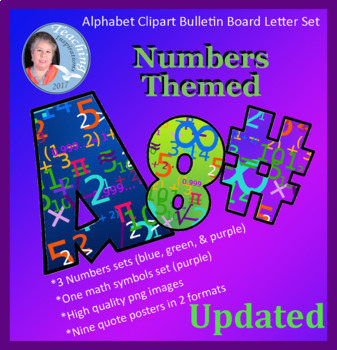 Alphabet Clipart Bulletin Board Letter Set Math Numbers Themed