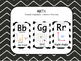 Math Themed Alphabet - Black & White Chevron Chalkboard