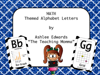 Math Themed Alphabet - Blue Glitter