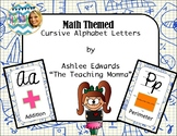 Math Themed Cursive Alphabet (Blue Grid)