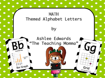 Math Themed Alphabet - Lime with polka dots