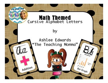 Math Themed Cursive Alphabet (Burlap and Black Dots)