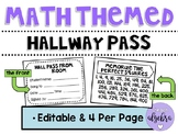 Math Themed Hallway Pass - Editable