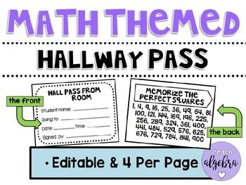 Math Themed Hallway Pass - Editable