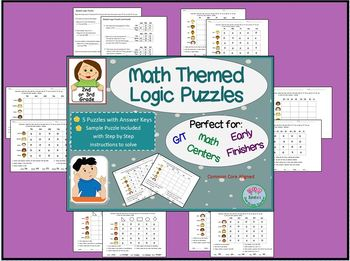 Math Themed Logic Puzzles for GT/ and Early Finishers - 2nd or 3rd Grade