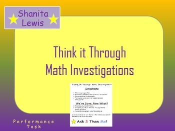 Math Think It Through Investigations