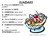 Math Reading Strategy: SUNDAES