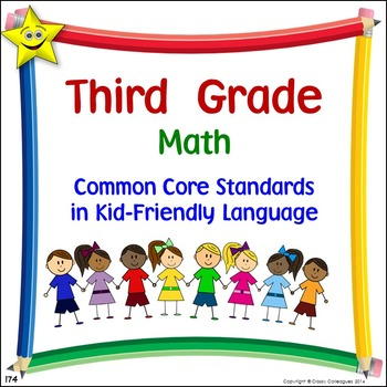 Math Third Grade Common Core Standards Posters in Kid-Friendly Language
