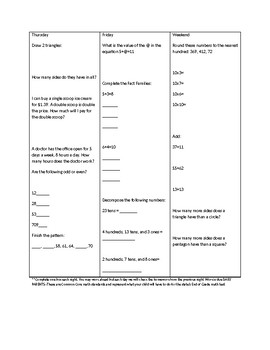 Math Third Grade Nightly Homework Review Common Core