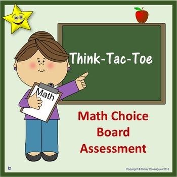 Math Choice Board Assessment