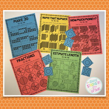 Math Tic Tac Toe - 87 Center Games 1st & 2nd Grade CCSS Aligned