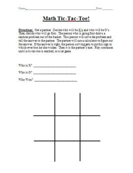Math Tic-Tac-Toe Activity