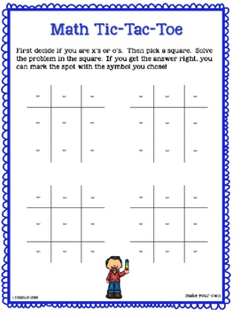 Math Tic Tac Toe Addition Facts