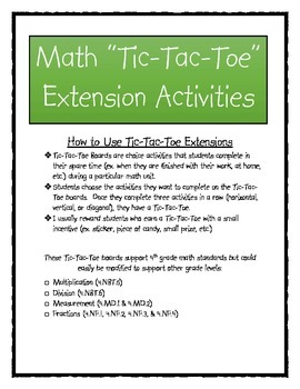 "Math ""Tic-Tac-Toe"" Enrichment Activities Bundle"