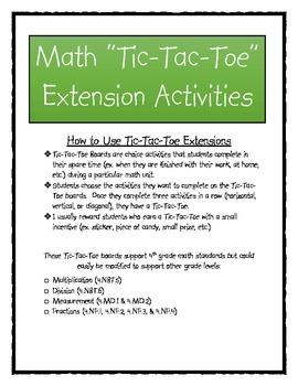 """Math """"Tic-Tac-Toe"""" Extension Activities"""