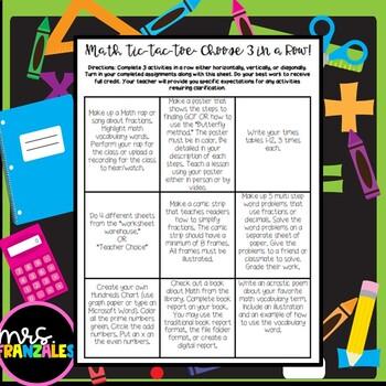 Upper Elementary Math Choice Board- NO PREP