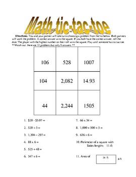 Math Tic-tac-toe