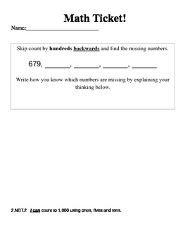 Math Ticket - Counting Backwards Using Hundreds