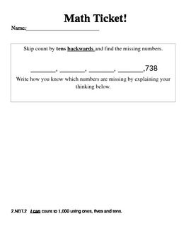 Math Ticket - Counting Backwards by Tens - 2.NBT.2