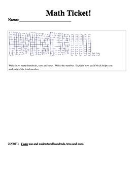 Math Ticket - Hundreds, Tens and Ones 2.NBT.1