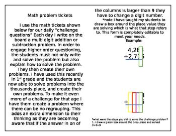Math Tickets