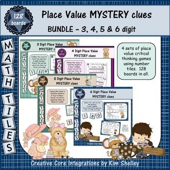 Math Tile MYSTERY Clues Place Value BUNDLE