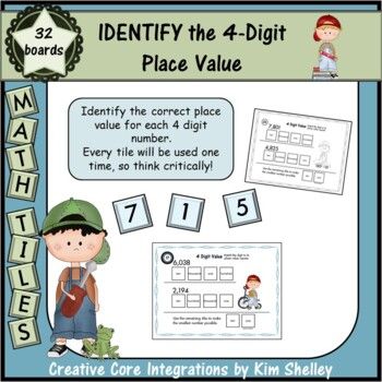 Math Tile 4 Digit IDENTIFY the Place Value Game