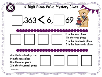 Math Tile 4 Digit MYSTERY Clues Place Value Game