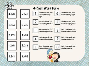 Math Tile 4 Digit WORD FORM Game