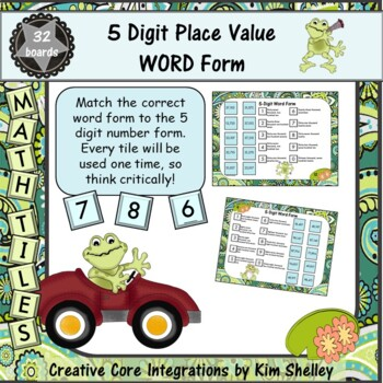 Math Tile 5 Digit WORD FORM Game