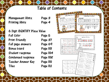 Math Tile 6 Digit IDENTIFY the Place Value Game