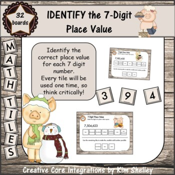 Math Tile 7 Digit IDENTIFY the Place Value Game