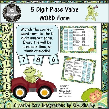 Math Tile WORD FORM Place Value Game BUNDLE