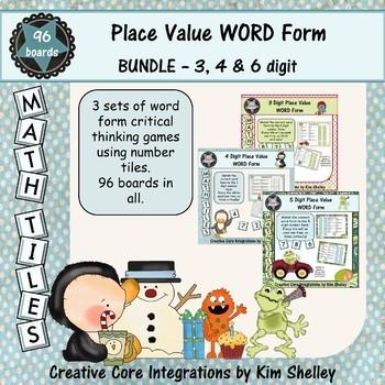 Math Tile WORD FORM Place Value Game BUNDLE