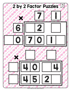 Math Tiles: 2 by 2 Factor Puzzles  Math Centers