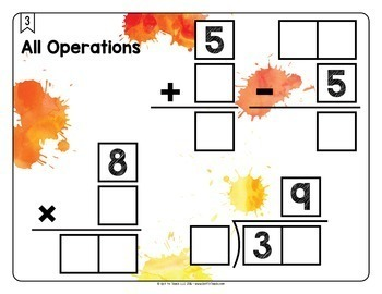 Math Tiles: All Operations {Add, Subtract, Multiply, & Divide}  Math Centers