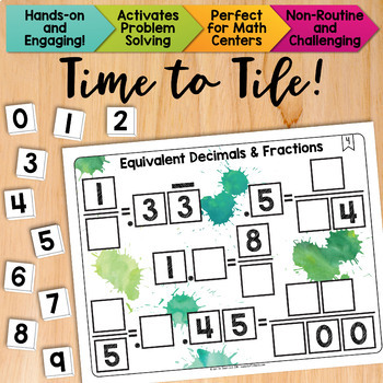 Math Tiles: Equivalent Decimals and Fractions | Math Centers