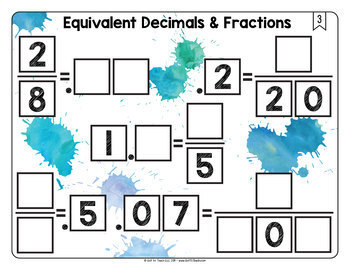 Math Tiles: Equivalent Decimals and Fractions   Math Centers