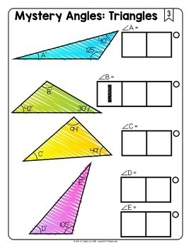 Math Tiles: Mystery Angles (Triangles)  Math Centers