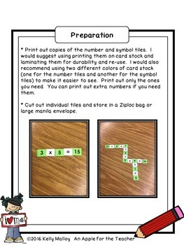 Math Game - Number Crossword Game Math Operations