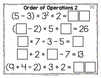 Math Tiles: Order of Operations 2 {With Exponents}  Math Centers